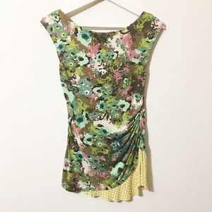 Weston Wear Asymmetrical Ruched Floral Top
